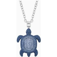 Mustique Sea Life Turtle Pendant, Large, Blue, Palladium plated - Life Gifts