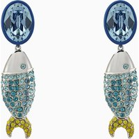 Mustique Sea Life Fish Pierced Earrings, Blue, Palladium plated - Life Gifts