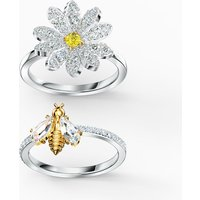 Eternal Flower Ring Set, Yellow, Mixed metal finish - Swarovski Crystal Gifts