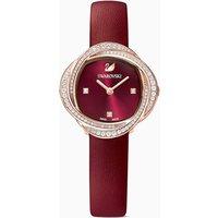 Swarovski Crystal Flower Uhr, Lederarmband, rot, rosé vergoldetes PVD-Finish