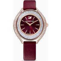 Swarovski Crystalline Aura Uhr, Lederarmband, rot, rosé vergoldetes PVD-Finish