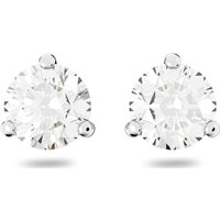 Solitaire Pierced Earrings, White, Rhodium plated - Swarovski Gifts