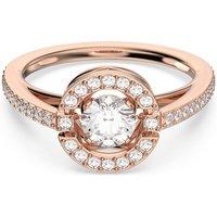 Swarovski Sparkling Dance Round Ring, White, Rose-gold tone plated - Swarovski Crystal Gifts