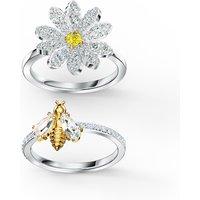 Eternal Flower Ring Set, Yellow, Mixed metal finish - Swarovski Crystal Gifts