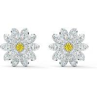 Eternal Flower Stud Pierced Earrings, Yellow, Mixed metal finish - Swarovski Crystal Gifts