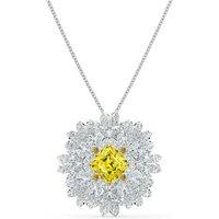 Eternal Flower Brooch, Yellow, Mixed metal finish - Swarovski Crystal Gifts