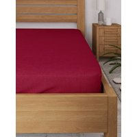 M&S Cotton Rich Percale Fitted Sheet - 5FT - Cranberry, Cranberry,Dove,Medium Navy,White,Aqua,Oyster