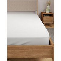 M&S Egyptian Cotton 400 Thread Count Percale Fitted Sheet - DBL - White, White,Light Cream,Ash Grey