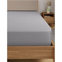 MandS Egyptian Cotton 400 Thread Count Percale Extra Deep Fitted Sheet - 6FT - Ash Grey, Ash Grey,White,Light Cream