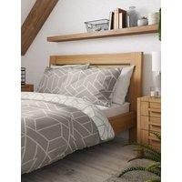M&S Unisex Cotton Mix Geometric Bedding Set - 6FT - Grey, Grey,Duck Egg