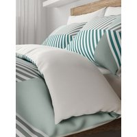MandS Cotton Mix Geometric Bedding Set with Fitted Sheet - SGL - Teal, Teal,Grey Mix