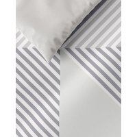 MandS Cotton Mix Geometric Bedding Set with Fitted Sheet - DBL - Grey Mix, Grey Mix