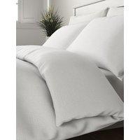 M&S Pure Cotton Geometric Matelasse Bedding Set - 5FT - White, White