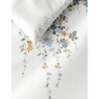 M&S Pure Cotton Blossom Embroidered Bedding Set - 5FT - White Mix, White Mix