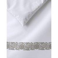 M&S Pure Cotton Embroidered Edge Bedding Set - SGL - White Mix, White Mix
