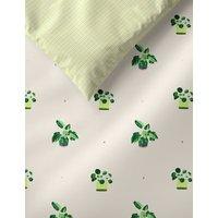 M&S Cotton Rich Plant Pot Bedding Set - SGL - White Mix, White Mix