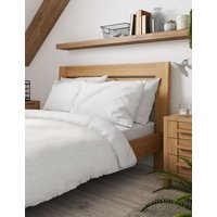 M&S Pure Cotton Striped Bedding Set - DBL - White, White