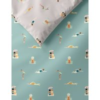 M&S Cotton Rich Swimmers Bedding Set - 6FT - Green Mix, Green Mix