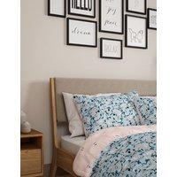 M&S Cotton Rich Floral Bedding Set - 6FT - Blue Mix, Blue Mix