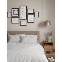 M&S Pure Cotton Hummingbird Embroidered Bedding Set - DBL - Ochre, Ochre