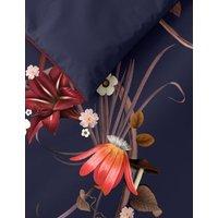 M&S Pure Cotton Floral Bedding Set - SGL - Navy Mix, Navy Mix