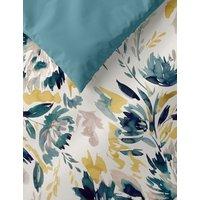 M&S Pure Cotton Watercolour Floral Bedding Set - 5FT - Teal Mix, Teal Mix