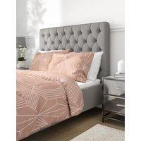 M&S Pure Cotton Geometric Jacquard Bedding Set - 5FT - Blush, Blush