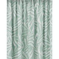 M&S Cotton Fern Pencil Pleat Blackout Curtains - STD54 - Duck Egg, Duck Egg,Silver Grey