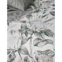 MandS Sanderson Pure Cotton King Protea Duvet Cover - DBL - Grey, Grey