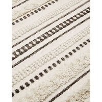 M&S Pure Wool Striped Popcorn Woven Rug - Large - Natural Mix, Natural Mix