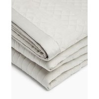 MandS Satin Quilted Throw - MED - Grey, Grey