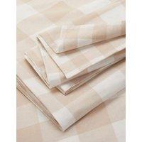 M&S Brushed Cotton Gingham Bedding Set - 6FT - Neutral, Neutral