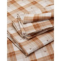 M&S Brushed Cotton Checked Bedding Set - DBL - Neutral, Neutral,Grey