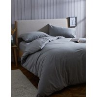 M&S Pure Cotton Brushed Bedding Set - SGL - Grey Marl, Grey Marl,Ginger,Blush,Biscuit,White,Sand