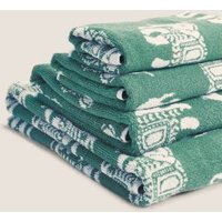 M&S Priya Pure Cotton Elephant Towel - EXL - Soft Teal, Soft Teal,Grey,Terracotta
