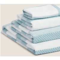 M&S Pure Cotton Striped Textured Towel - HAND - Duck Egg, Duck Egg,Natural,Silver Grey,Navy,Soft Pin