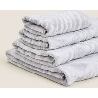 M&S Cotton Rich Palm Shimmer Towel - HAND - Grey Mix, Grey Mix