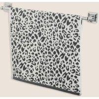 M&S Pure Cotton Leopard Print Towel - EXL - Grey, Grey,Neutral