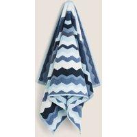 M&S Pure Cotton Zig Zag Towel - HAND - Blue Mix, Blue Mix,Teal Mix,Grey Mix