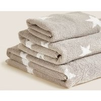M&S Pure Cotton Stars Towel - BATH - Grey Mix, Grey Mix