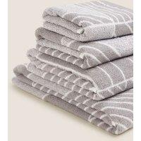 M&S Pure Cotton Geometric Print Towel - EXL - Grey, Grey,Teal Mix,Denim