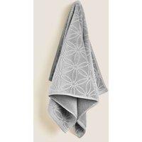 M&S Cotton Rich Repeat Shimmer Towel - EXL - Silver Grey, Silver Grey