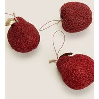 M&S 3 Pack Red Fruit Hanging Decoration - 1SIZE, Red