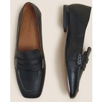 M&S Autograph Womens Leather Slip On Square Toe Flat Loafers - 3.5 - Black, Black,Khaki
