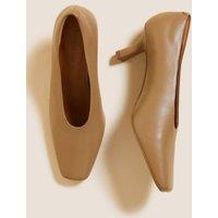 MandS Autograph Womens Leather Slip On Square Toe Court Shoe
