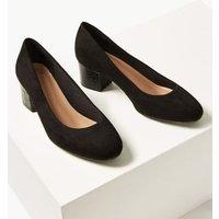 MandS Womens Wide Fit Block Heel Court Shoes - 3 - Black, Black,Navy