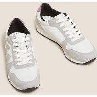 M&S Womens Lace Up Side Detail Trainers - 5.5 - White Mix, White Mix