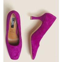 MandS Womens Suede Square Toe Court Shoes - 4 - Magenta, Mag
