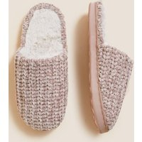 M&S Womens Mule Slippers with Secret Support - 3 - Pink, Pink,Cream