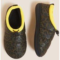 M&S Womens Nylon Quilted Leopard Print Slipper Boots - 3 - Dark Grey Mix, Dark Grey Mix